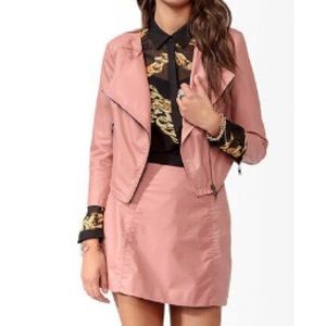 NWT Forever21 Vegan Leather Jacket and Skirt set